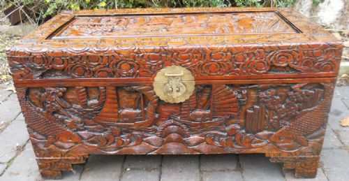 Carved Oriental Camphor Blanket Box